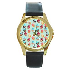 Cup Cakes Party Round Gold Metal Watch