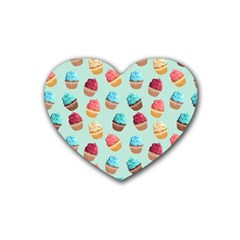 Cup Cakes Party Rubber Coaster (heart)