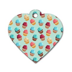 Cup Cakes Party Dog Tag Heart (one Side)