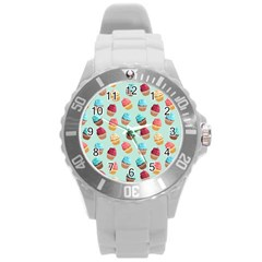 Cup Cakes Party Round Plastic Sport Watch (l)