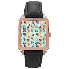 Cup Cakes Party Rose Gold Leather Watch
