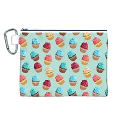Cup Cakes Party Canvas Cosmetic Bag (L)
