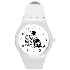 Dog person Round Plastic Sport Watch (M)