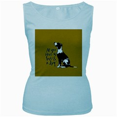Dog person Women s Baby Blue Tank Top
