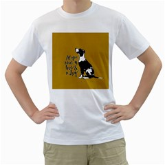 Dog person Men s T-Shirt (White) (Two Sided)