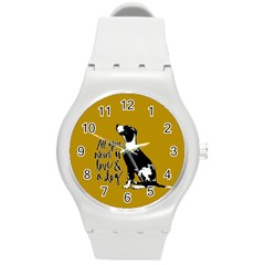 Dog person Round Plastic Sport Watch (M)