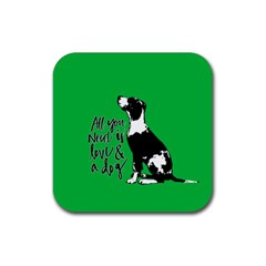 Dog person Rubber Coaster (Square)