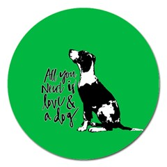 Dog person Magnet 5  (Round)