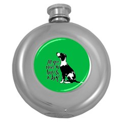 Dog person Round Hip Flask (5 oz)