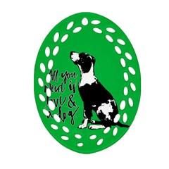 Dog person Ornament (Oval Filigree)