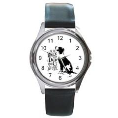 Dog person Round Metal Watch