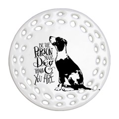Dog person Ornament (Round Filigree)