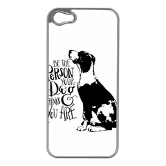 Dog person Apple iPhone 5 Case (Silver)