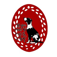 Dog person Oval Filigree Ornament (Two Sides)