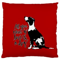 Dog person Large Cushion Case (Two Sides)