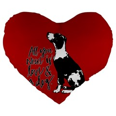 Dog person Large 19  Premium Heart Shape Cushions