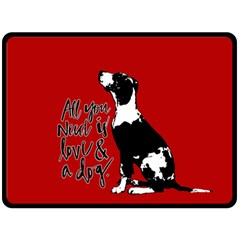 Dog person Double Sided Fleece Blanket (Large)