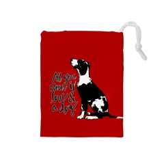 Dog person Drawstring Pouches (Medium)