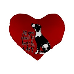 Dog person Standard 16  Premium Flano Heart Shape Cushions