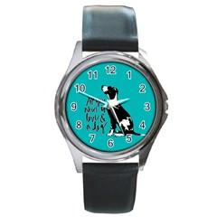 Dog person Round Metal Watch