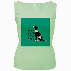 Dog person Women s Green Tank Top