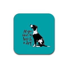 Dog person Rubber Square Coaster (4 pack)