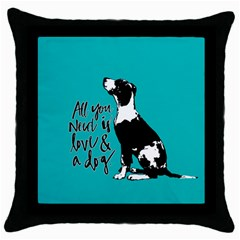 Dog person Throw Pillow Case (Black)