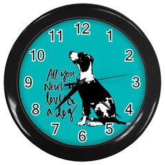 Dog person Wall Clocks (Black)