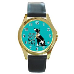 Dog person Round Gold Metal Watch