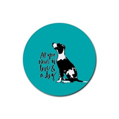 Dog person Rubber Coaster (Round)