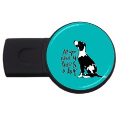 Dog person USB Flash Drive Round (2 GB)