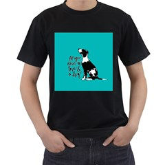 Dog person Men s T-Shirt (Black) (Two Sided)
