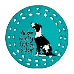 Dog person Round Filigree Ornament (Two Sides)