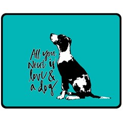 Dog person Double Sided Fleece Blanket (Medium)