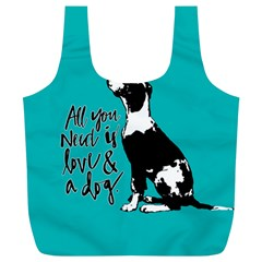 Dog person Full Print Recycle Bags (L)