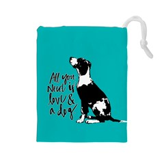 Dog person Drawstring Pouches (Large)