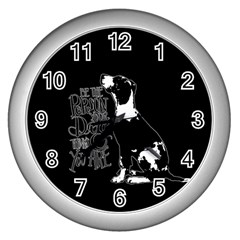 Dog person Wall Clocks (Silver)