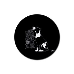 Dog person Rubber Round Coaster (4 pack)