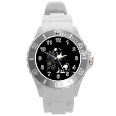 Dog person Round Plastic Sport Watch (L)