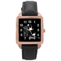 Dog person Rose Gold Leather Watch