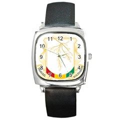 Coat of Arms of Republic of Guinea  Square Metal Watch