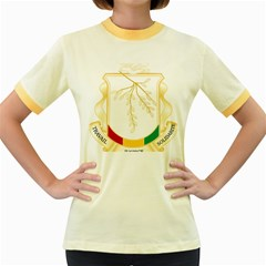 Coat of Arms of Republic of Guinea  Women s Fitted Ringer T-Shirts