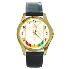 Coat of Arms of Republic of Guinea  Round Gold Metal Watch
