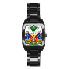 Coat of Arms of Haiti Stainless Steel Barrel Watch