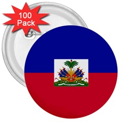 Flag of Haiti  3  Buttons (100 pack)