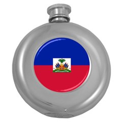 Flag of Haiti  Round Hip Flask (5 oz)