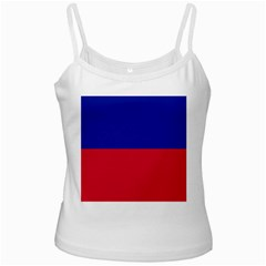 Civil Flag of Haiti (Without Coat of Arms) White Spaghetti Tank
