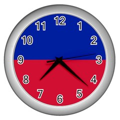 Civil Flag of Haiti (Without Coat of Arms) Wall Clocks (Silver)