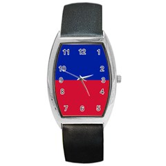 Civil Flag of Haiti (Without Coat of Arms) Barrel Style Metal Watch