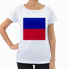 Civil Flag of Haiti (Without Coat of Arms) Women s Loose-Fit T-Shirt (White)